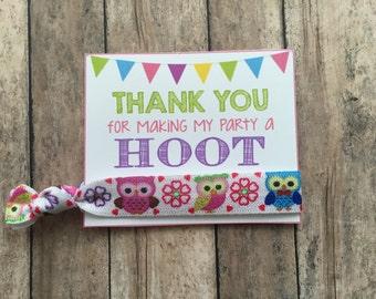 Owl Birthday Theme ,Owl Party Favors,owl Fold over Elastic,Owl Hair Tie Favors,Owl Thank You Cards