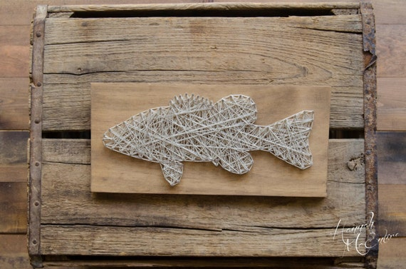 Fish art string art fishing gifts gifts for him for Fish string art