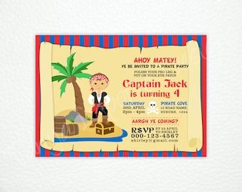 "Pirate Party Invitation - Printable digital file - 5x7"""
