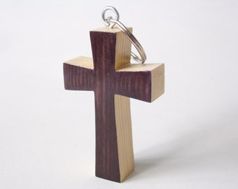 Wooden Keyring Plum And Cream Coloured Cross