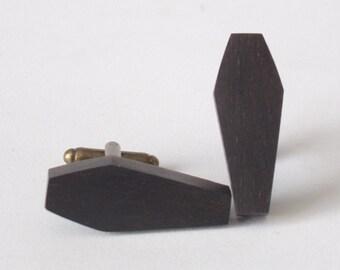 Coffin Casket Shaped Ebony Wood Wooden Cufflinks Cuff Links