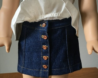 Denim Skirt/Button Front for American Girl Doll