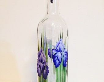 Hand painted Purple Iris Everything Bottle - Great for olive oil, salad dressings, vinegars and dish soap