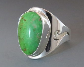 Natural Carico Lake Turquoise and Sterling Silver Ring, Size 11 1/4 (UK Size W-X)