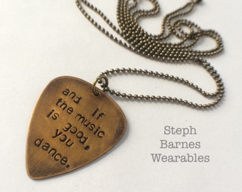 Guitar pic necklace or keychain for him or her