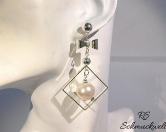 Earrings, pendant earrings, geometric, Pearl, loop, square, engagement, Valentine's day, Christmas, mother's day gift
