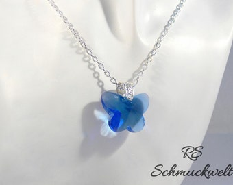 Butterfly pendant, necklace with butterfly, Crystal butterfly, Crystal pendant, silver, sapphire blue, gift for girlfriend