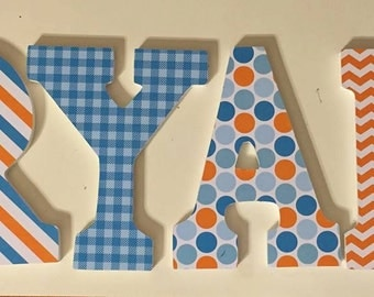 Boys name letters, Ryan, baby nursery letters in orange and blue, chevron, polka dots, wall letters, wood letters, name letters, hanging