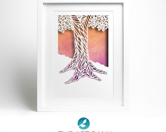 Paper-cut template 'Patterned tree' hand-cut your own!