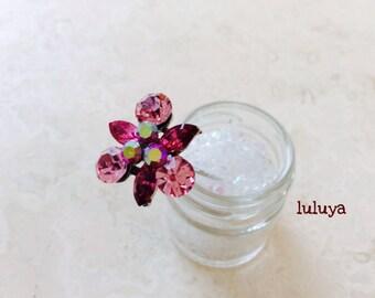 Pink Crystal Flower Shape Metal Hair Pin Stick Bridal Headpiece Wedding Gift