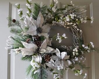 Silver White Christmas Wreath, Winter Wreath, Winter wreath, Rustic Wreath, Wedding Wreath