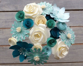 Paper Flowers, Mixed Bouquet in Turquoise Tones