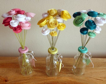 Paper Flower Posy - 12 flowers in pink, yellow or turquoise tones
