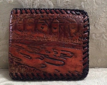 Vintage Tooled Wallet, Leather Wallet, Tooled Leather Wallet, Saddle Wallet, Western Style Wallet, Western Wallet, Tooled Leather