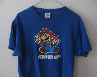 SALE Vintage Super Mario Power Up Nintendo t-shirt Adult Medium