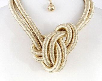 Knotted  coil necklace and earring set