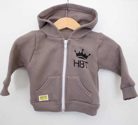 Infant cinder front zip hoodie // American Apparel brand // Splatter bee HBT