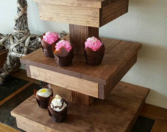 Wooden Cupcake Stand - Rustic Country Decor - Birthday Party Decor - Wedding Cupcake Stand - Cupcake Stands for Weddings