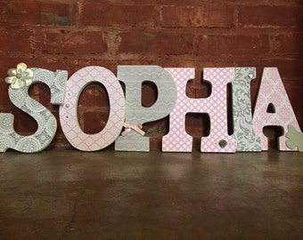 custom decorative wooden letters wooden name girls room nursery decor pink and gray sophia
