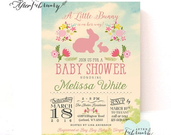 Bunny Baby Shower Invitation // Easter Baby Shower Invitation // Rabbit Baby Shower // Shabby Floral // Printable OR Printed No.312BABY