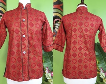 50's Asian Top.......X-Small Red And Gold Asian Style Top
