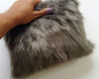 Smoke Grey Lux Faux Fur Clutch Purse
