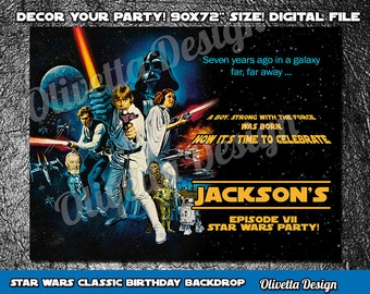 Star Wars Backdrop, Star Wars Classic, Star Wars Poster, Customized, Star Wars Party - Digital File, YOU PRINT