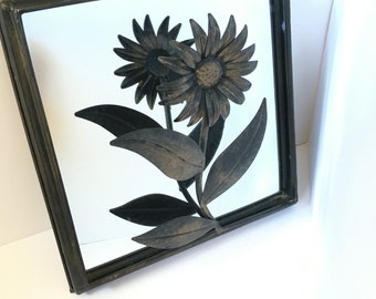 Metal framed Mirror with 3 Dimentional Flower