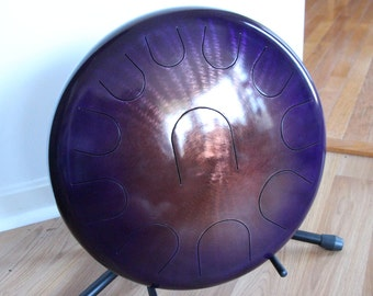 "16"" 11 Tone Ajna Steel Tongue Drum - Copper/Amethyst Burst - E Natural Minor"