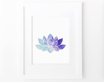 lotus flower water lily watercolor print printable aqua blue purple wall art yoga poster floral wall decor digital instant download jpg pdf
