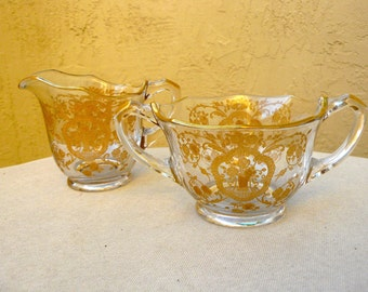 SALE: Cambridge Lotus Bridal Bouquet Gold Etch - Elegant Glass Creamer & Sugar