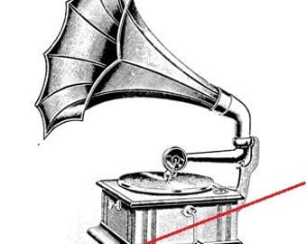 Vintage gramophone - temporary tattoo