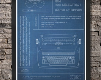 "IBM Selectric I: Hunter S. Thompson Typewriter ""Blue"" Print"