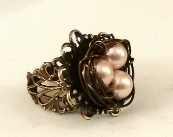 Pink Pearl Birdnest Ring with Adjustable Brass Filigree Ring Band