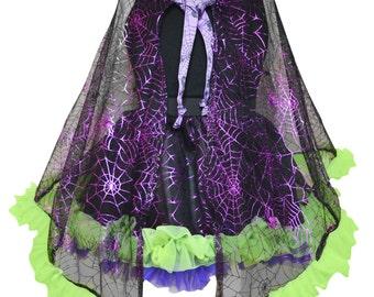 Cape, Halloween, Custome, Spider, Web, Neon, Green, Purple, Black, TuTu, Skirt, Witch, Handmade, Girl, Toddler, Baby, Infant, Cute, Twirly