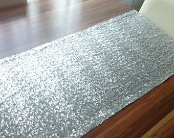 Silver Sequin Table Runner, Shiny Table Runner, Wedding Table Cover, Party Tablecloth, Sparkly Table Runner