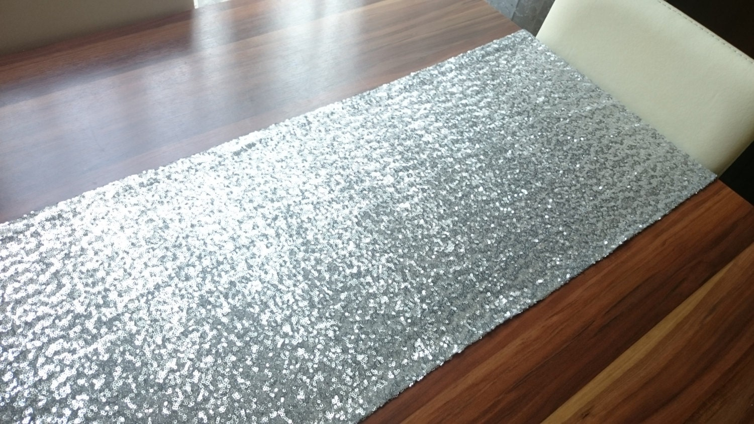 silver sequin table runner shiny table runner by. Black Bedroom Furniture Sets. Home Design Ideas