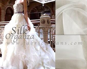 "White silk organza. 55"" wide. Ivory white organza. Wedding fabric"