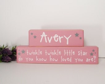 Twinkle Twinkle Little Star Custom Baby Name- Wood Block Baby/Nursery/Kids Room Decor-Baby Gift-Shower Gift-Birthday Gift-Country Decor