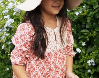 Girls Vintage Handmade ' Rozelle ' Crochet Bib Country dress  |  Burnt orange