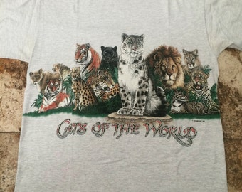 Vtg 90s Cats Of The World Large Shirt