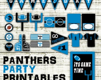 Panthers Football Party Printables and Decorations - Printable - 15 Pages in PDF Format - INSTaNT DOWNLoAD