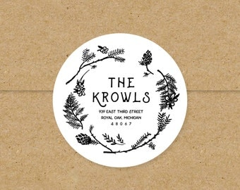 floral wreath rustic return address labels // custom stickers // woodland bohemian // black and white 2 inch round