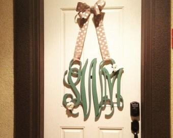 """22"""" inch Wooden Monogram- Door Hanger Monogram - Door Wreath - Unfinished Wooden Letters- Wedding Decor- Home Decor"""