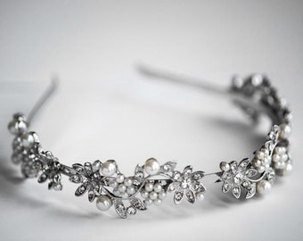 Bridal Headband Swarovski Pearl and Rhinestone Bridal Head band, Wedding Head band, Wedding Bridal Hair Accessories