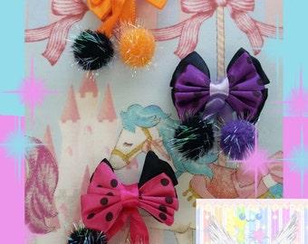 Halloween Colored Cute Pom Pom Bow Hair Clips - Choose Color