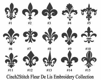 "Fleur De Lis Collection -  Machine Embroidery Design Download (4"" x 4"" hoop)"