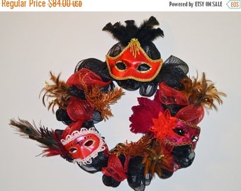 Halloween Wreath, Halloween Mask, Deco Mesh Wreath Door Decoration, Feather Wreath, Masquerade Decoration, Ready to Ship!