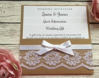Kraft Lace Pocketfold Wedding Invitation