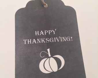 Set of 6 Chalkboard Happy Thanksgiving Pumpkin Fall Gift Tags Favor Tags-Ships in 3-5 days!